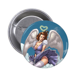 Brunette Angel Pinup with Heart Halo by Al Rio Pins