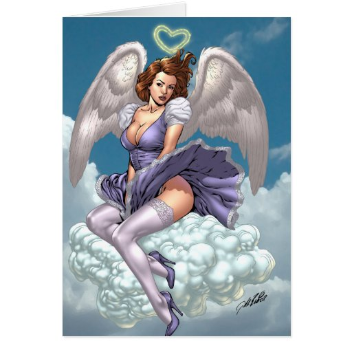 Brunette Angel Pinup with Heart Halo by Al Rio Greeting Cards