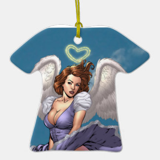 Brunette Angel Pinup with Heart Halo by Al Rio Ornaments