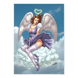 """Brunette Angel Pinup with Heart Halo by Al Rio 5"""" X 7"""" Invitation Card"""
