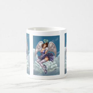 Brunette Angel Pinup with Heart Halo by Al Rio Coffee Mug