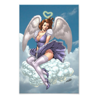Brunette Angel Pinup with Heart Halo by Al Rio Photo Art