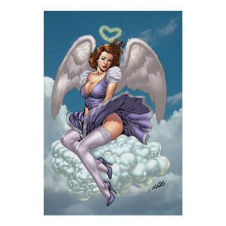 Brunette Angel Pinup with Heart Halo by Al Rio Print