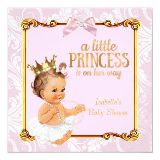 Brunette Baby Princess Baby Shower White Pink Gold Card