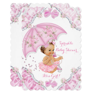Brunette Baby Shower Pink Umbrella Girl Flowers Card
