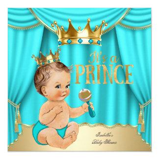 Brunette Baby Shower Prince Aqua Blue Gold Crown Card