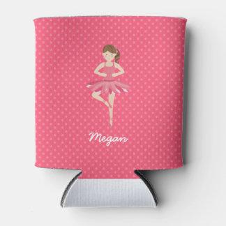Brunette Ballerina on Pink Polka Dots