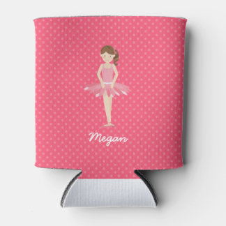 Brunette Ballerina on Pink Polka Dots 2
