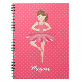 Brunette Ballerina on Pink Polka Dots Spiral Note Book