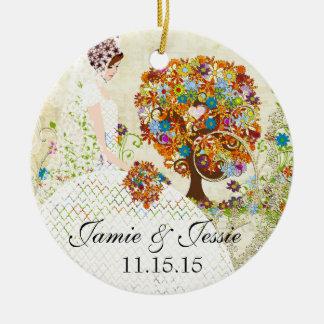 Brunette Birdesmaid Gifts Flower Tree Ceramic Ornament