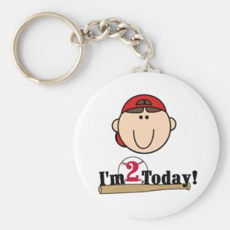 Brunette Boy Baseball 2nd Birthday Basic Round Button Key Ring