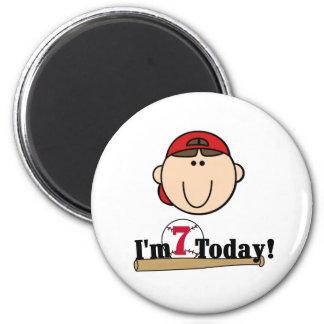 Brunette Boy Baseball 7th Birthday 6 Cm Round Magnet