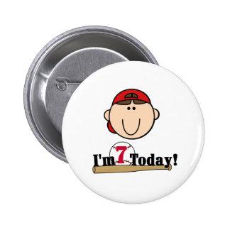 Brunette Boy Baseball 7th Birthday Buttons