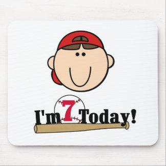 Brunette Boy Baseball 7th Birthday Mouse Pads