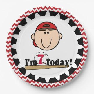 Brunette Boy Baseball 7th Birthday Paper Plates 9 Inch Paper Plate