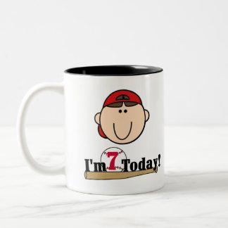 Brunette Boy Baseball 7th Birthday Two-Tone Coffee Mug
