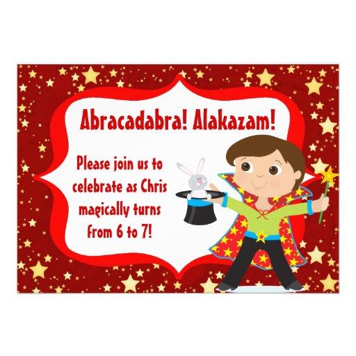 Brunette Boy Magician Birthday Party Invitation