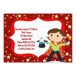 Brunette Boy Magician Birthday Party Invitation