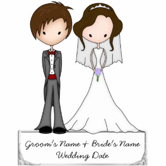 Brunette Bride and Brown Haired Groom Souvenir Cut Outs