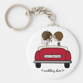 Brunette Bride and Groom in a Red Wedding Car Basic Round Button Key Ring