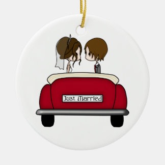 Brunette Bride and Groom in a Red Wedding Car Ceramic Ornament