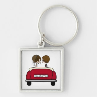 Brunette Bride and Groom in a Red Wedding Car Silver-Colored Square Key Ring