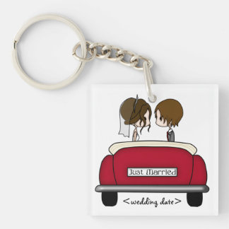Brunette Bride and Groom in a Red Wedding Car Single-Sided Square Acrylic Key Ring