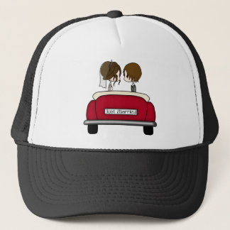 Brunette Bride and Groom in a Red Wedding Car Trucker Hat