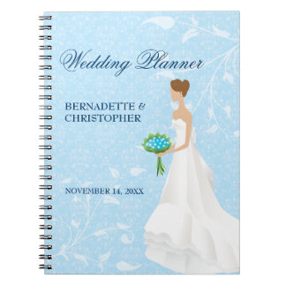 Brunette Bride Blue Wedding Planner Spiral Note Book