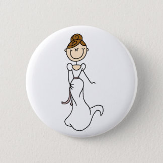 Brunette Bride Button