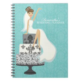 Brunette Bride on Wedding Cake {aqua} Spiral Notebook