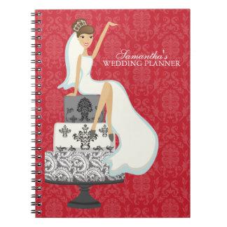 Brunette Bride on Wedding Cake {red} Notebook