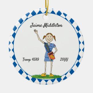 Brunette Cadette Girl Scouting Blue Diamond Shape Ceramic Ornament