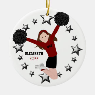 Brunette Cheerleader Pom Poms In Red & Black Ceramic Ornament