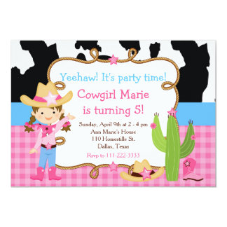 Brunette Cowgirl Western Birthday Party Card