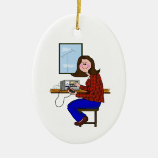 Brunette Female Ham Christmas Ornament