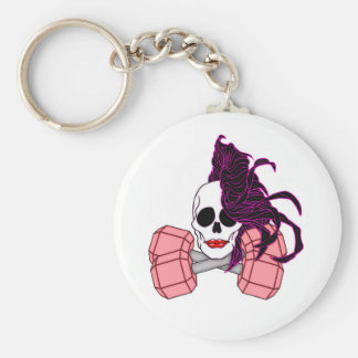 brunette female skull basic round button key ring
