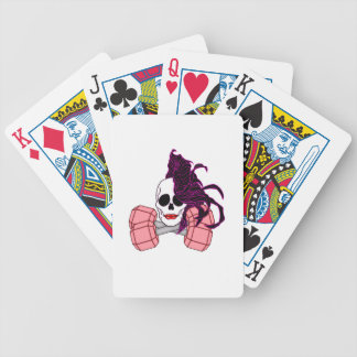 brunette female skull bicycle playing cards
