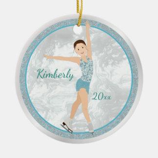 Brunette Figure Skater In Aqua Ceramic Ornament