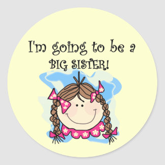 Brunette Future Big Sister Tshirts and Gifts Classic Round Sticker
