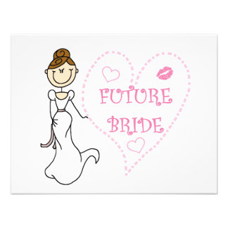 Brunette Future Bride Tshirts and Gifts Personalized Invites
