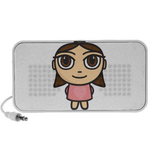 Brunette Girl Cartoon Character Doodle Speakers