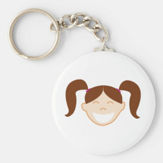 Brunette Girl Face Basic Round Button Key Ring