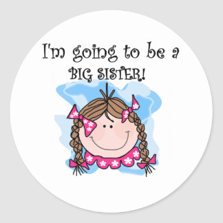Brunette Girl Future Big Sister Classic Round Sticker