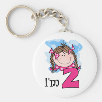 Brunette Girl I'm Two Keychains