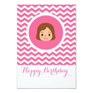 Brunette girl in pink invitation card