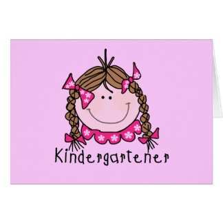 Brunette Girl Kindergarten Tshirts and Gifts Card