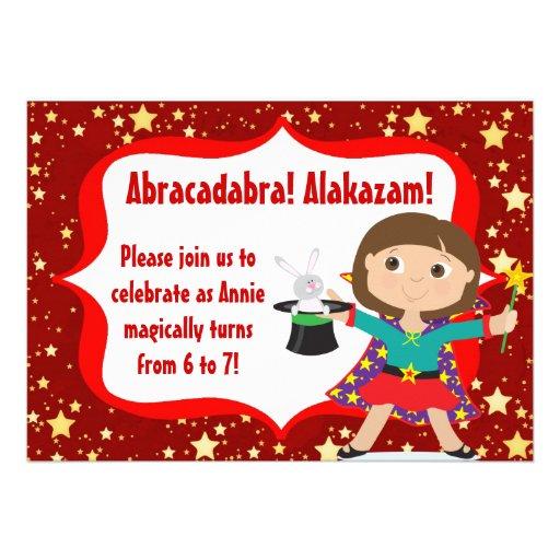Brunette Girl Magician Birthday Party Invitation