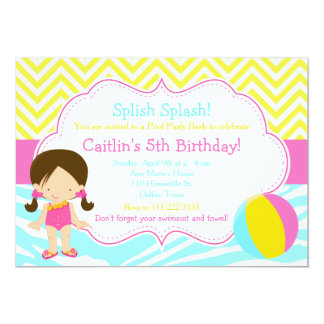 Brunette Girl Pool Party Bash Party Card