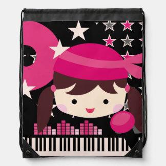 Brunette Girl Rock Star Drawstring Bag